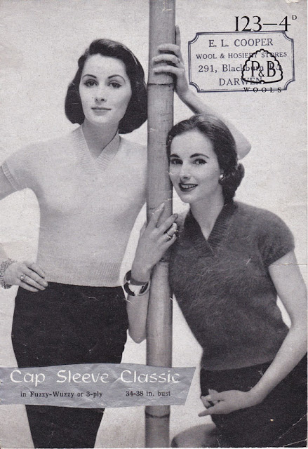 1950s P&B Cap sleeve classic jumper, sweater, knitting pattern