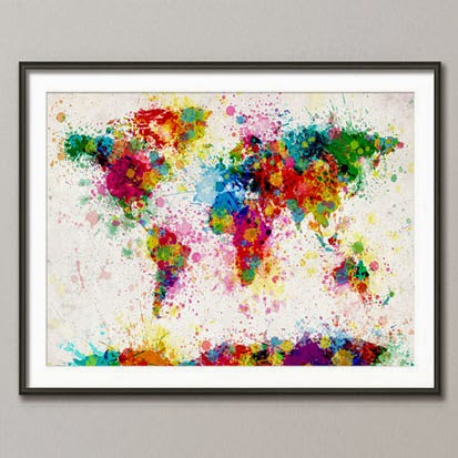 Ma Bicyclette: Buy Handmade | Christmas Gift Guide For Her - Paint Splashed Map Print