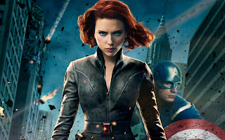 Black Widow Scarlett Johansson and Captain America The Avengers HD Wallpaper