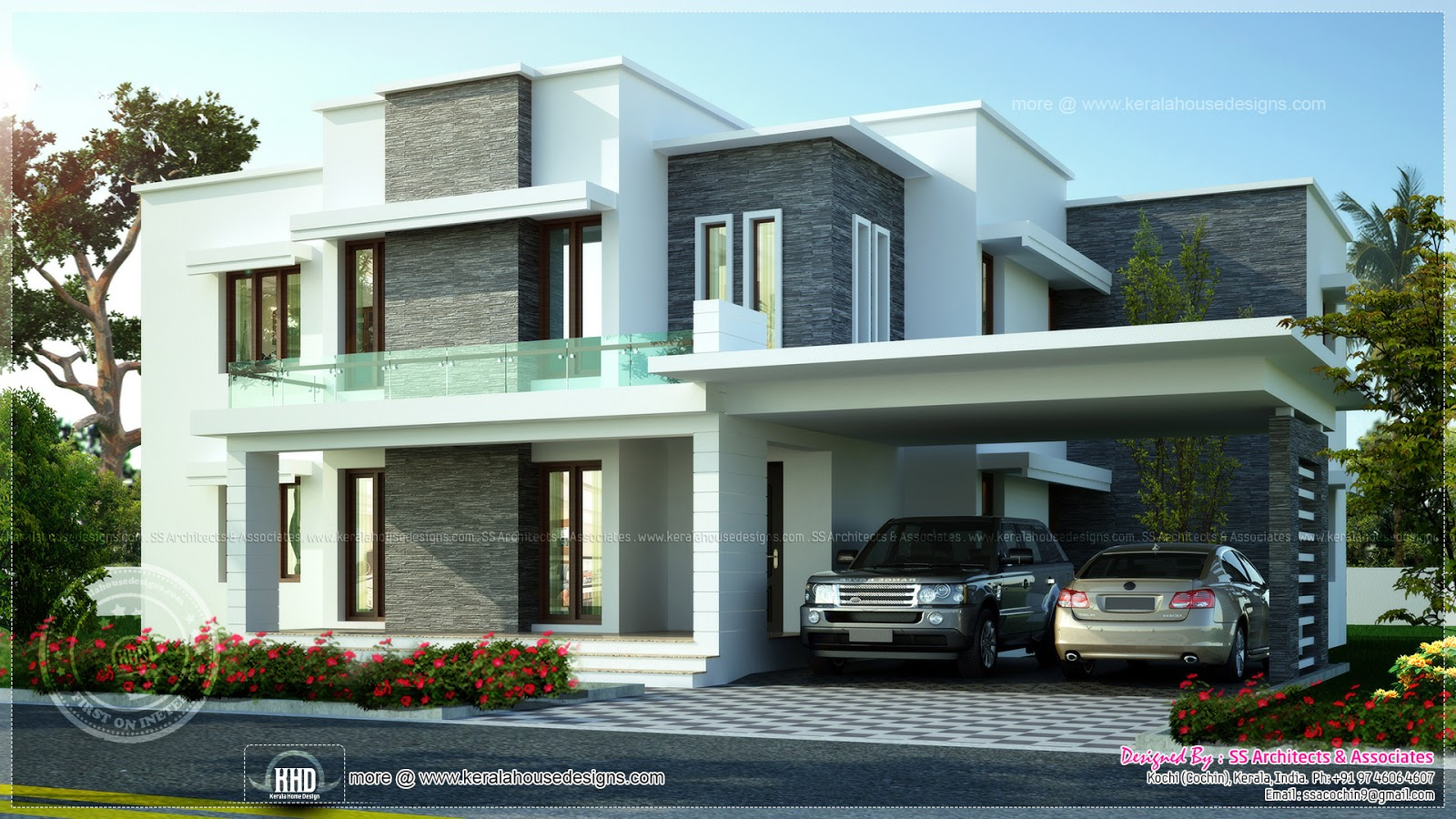 3600 sq ft contemporary villa exterior elevation kerala for House designs 950 sq ft