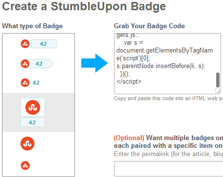 how to add stumbleupon buttons and badges in blogger