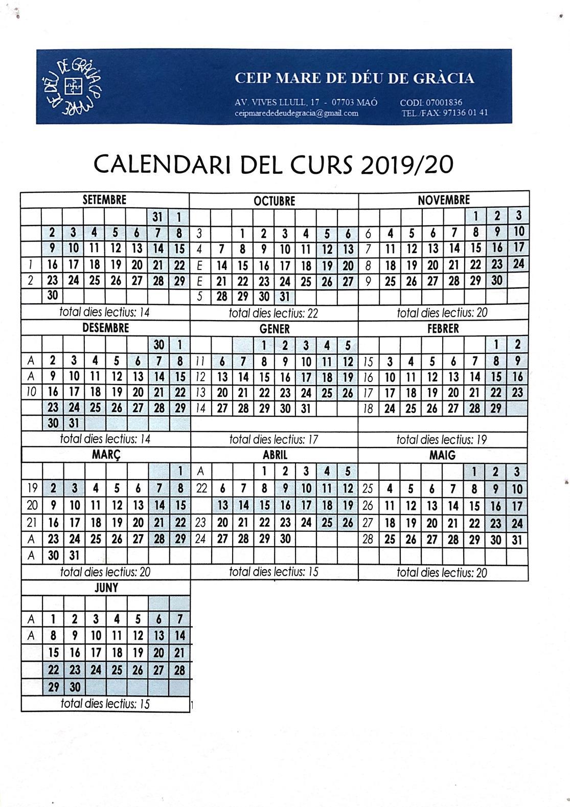 Calendari Escolar Curs 19-20