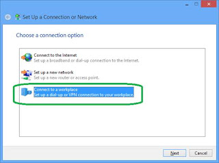 Setup a dial-up or VPN connection to your workplace