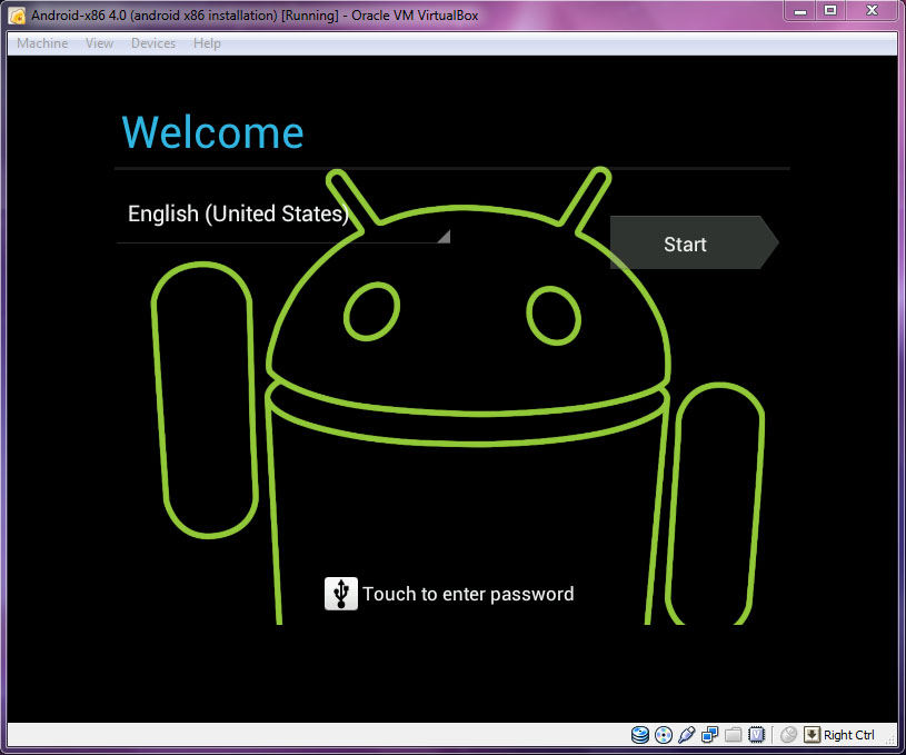 VirtualBox - Android-x86 Welcome Page