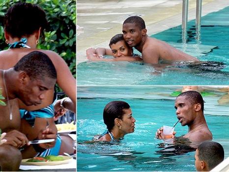 Connoisseur photos samuel eto o s wife shows off boobs for Paris public pool