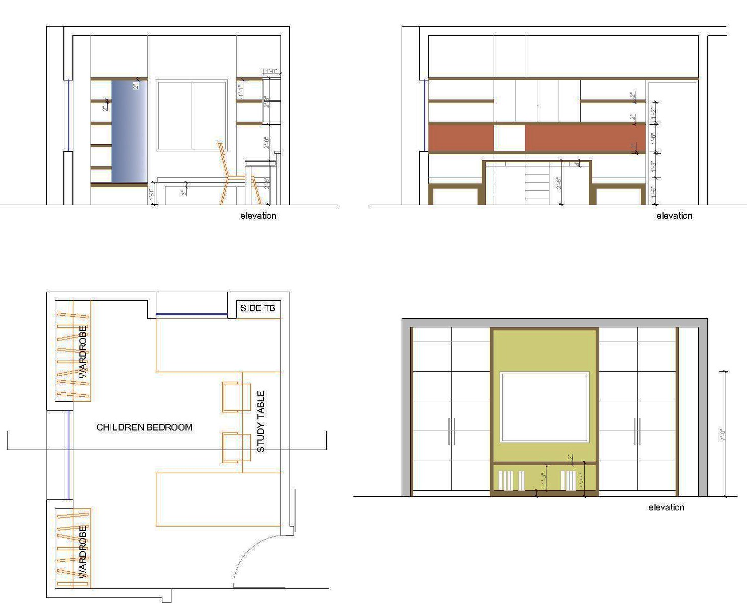 Front Elevation Bedrooms : Study table front elevation