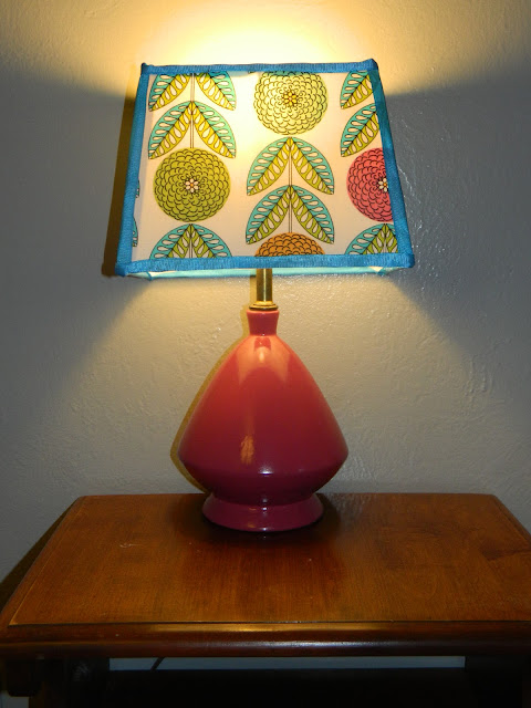 retro mid-century mod lamp light covering a lampshade DIY tutorial Just Peachy, Darling