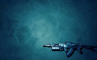 Blue Background Game Gun HD Wallpaper