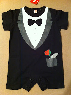 Black and white babygrow novelty tuxedo with bow tie