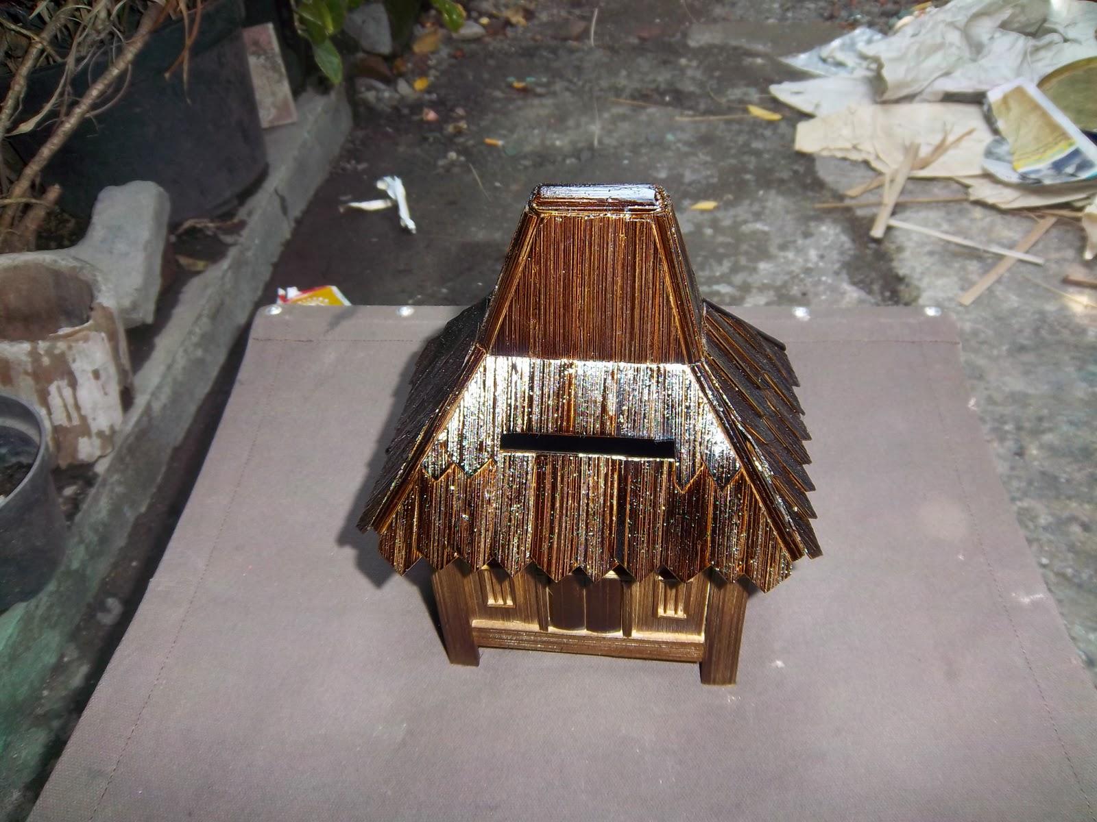 yogyakarta craft celengan bambu bentuk rumah adat jawa
