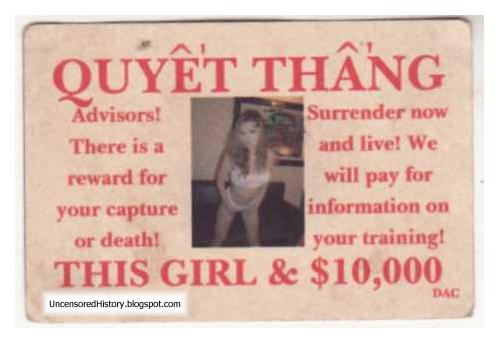 Posters offer  girl 10000 dollar reward American soldiers