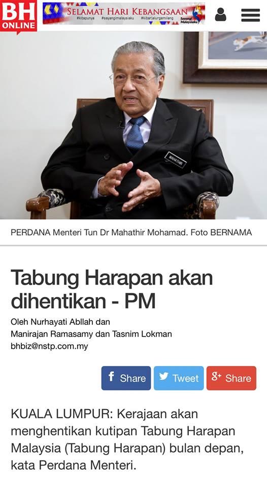 Pewaris Melayu Pewaris Kepimpinan Malaysia Akhirnya Dr M Kata Tabung Harapan Tu Hanya Simbolik Patriotik Rakyat Malaysia Bukannya Untuk Bayar Hutang Kerajaan