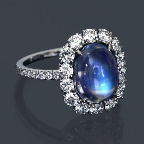Rainbow Moonstone And Diamond Ring