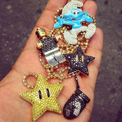 Exit 8 music group presentsyou see that chain 2014 unkown various cartoon video game themed diamond pendants aloadofball Images