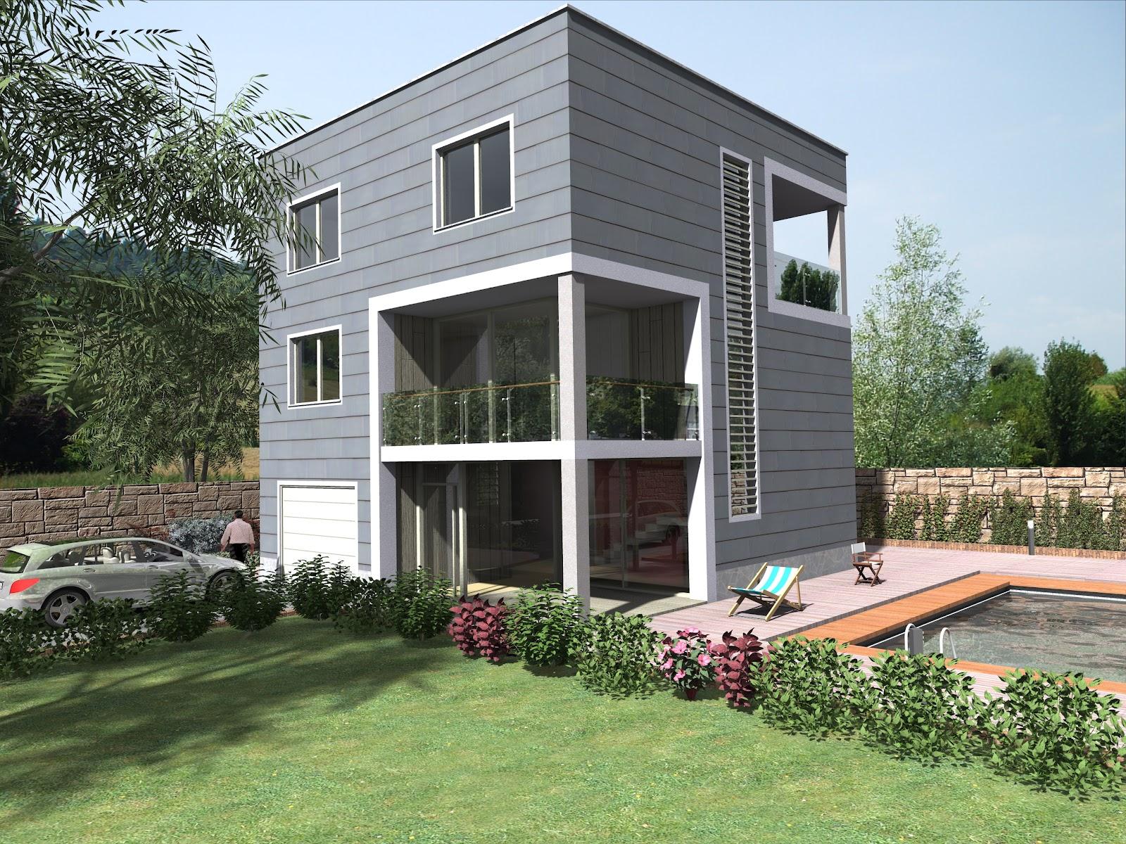 Render architettonici casa cubo seconda soluzione for Casa a forma di v