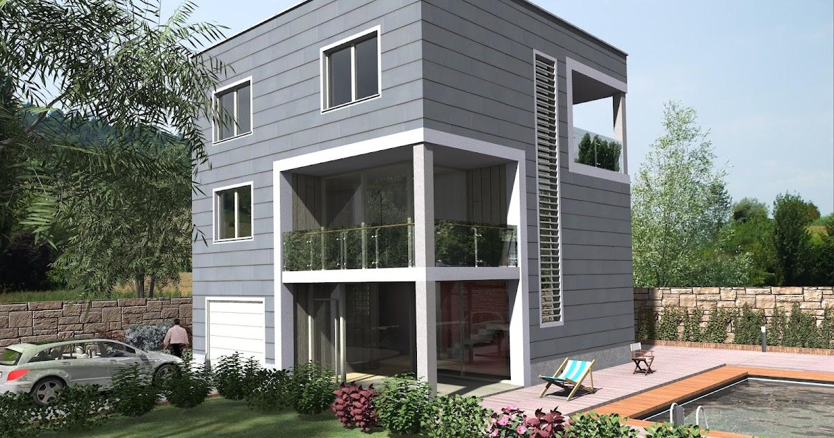 Render architettonici casa cubo seconda soluzione - Soluzione umidita casa ...