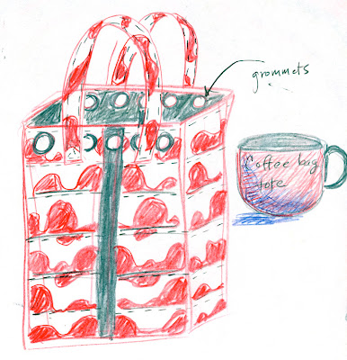 sketch of tote made from coffee bean bags