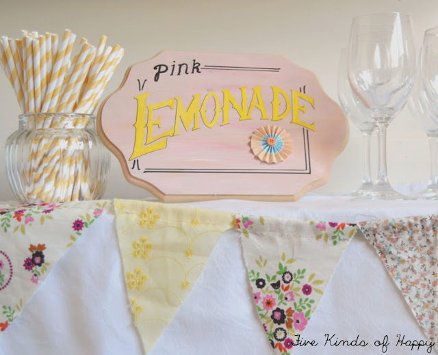 DIY Pink Lemonade sign, and bunting