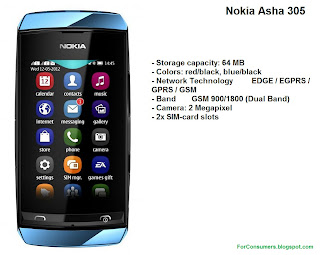 Nokia Asha 305 blue