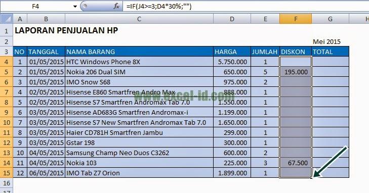 Rumus untuk laporan penjualan HP