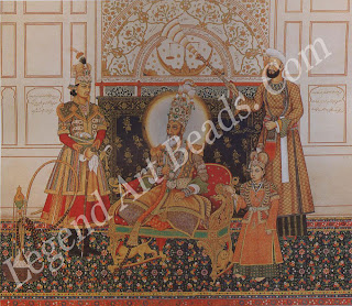 EMPEROR BAHADUR SHAH II Mughal. dated May-June 1838 Opaque watercolour on paper 30 8 cm x 36.8 cm Courtesy of the Arthur M. Sackler Museum, Harvard University Art Museums, Loan from private collection 'Exalted King of Kings, Emperor and Son of Emperor, Sultan and Son of Sultan, Possessed of Glories and Victories are some of the titles inscribed on this portrait of Bahadur Shah the last Mughal emperor, flanked by his two sons. By this time the renowned imperial treasury was empty and the emperor devoid of power. His plumed gold crown was bought by Queen Victoria for 500 pounds after the Mutiny of 1857.