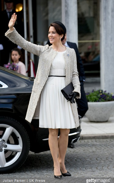 Crown Princess Mary of Denmark, attends a Lunch reception to mark the forthcoming 75th Birthday of Queen Margrethe II of Denmark. at Aarhus City Hall