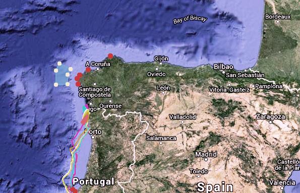 graphic of Volvo Ocean Race, Leg 8 - Lisbon to Lorient - Positions at: 8 June 21:35 UTC