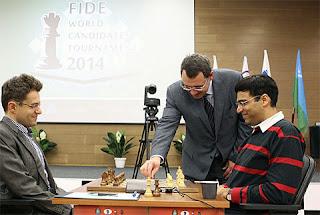 Échecs : Viswanathan Anand 1-0 Levon Aronian, ronde 1 © site officiel