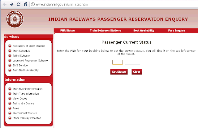Check PNR Status though PC/Mobile