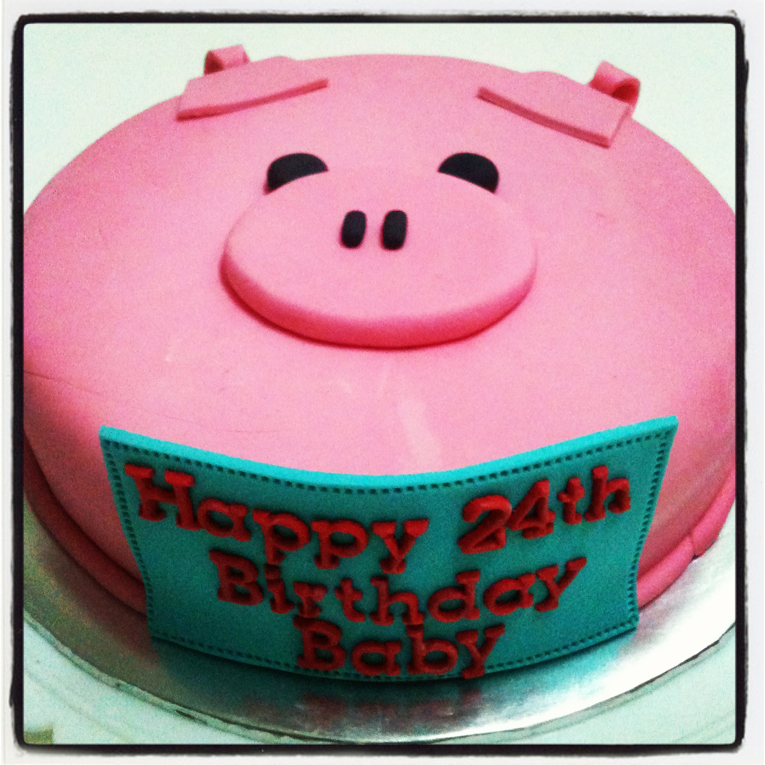 A Simple PIGGY Cake From Lovely And Thoughtful Girlfriend To Her Boyfriend For His 24th Birthday Im Glad He Likes It