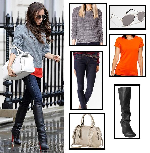 boots, celebrity street style, celebrity style, forever 21, jeans, christian louboutin, posh spice, street style, sunglasses, super style steals, sweater, t-shirt, target, tote bag, urban outfitters, victoria beckham, budget fashion