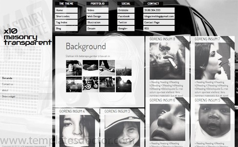 x10 Masonry Transparent blogger templates