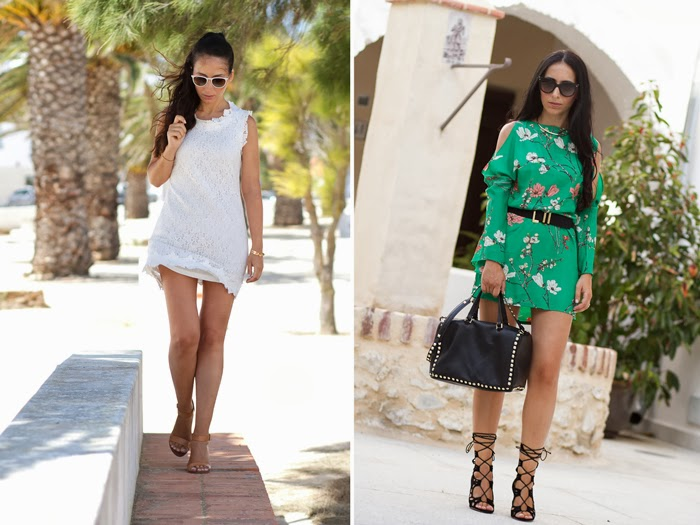 White crochet dress + Oriental dress + Lace-up high heels