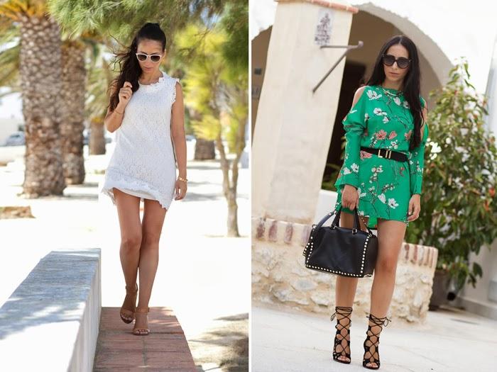 White crochet dress + Oriental dress + Lace-up high heels
