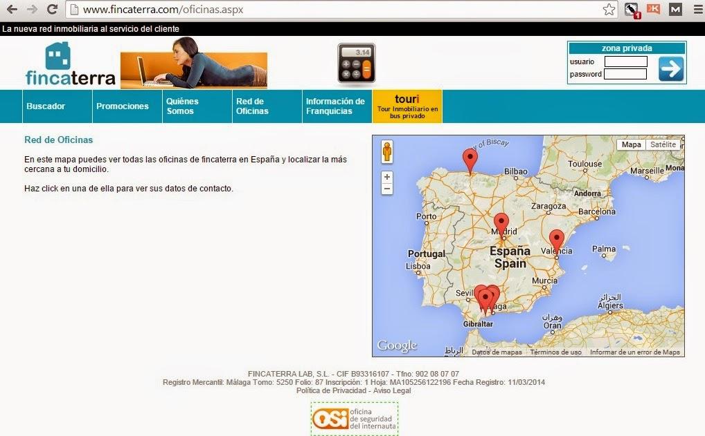 mapa de oficinas de fincaterra