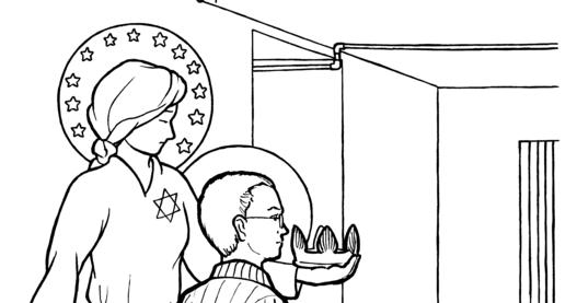 Snowflake Clockwork: St. Maximilian Kolbe coloring page