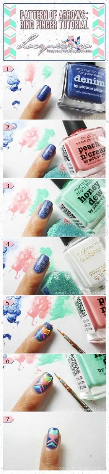 piCture pOlish Blog Fest 2013: Pattern of Arrows (Ring Finger Tutorial) by Lacqueerisa