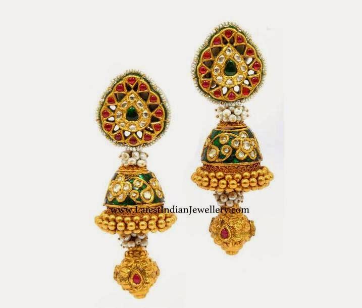 Enamel Kundan Jhumka Earrings