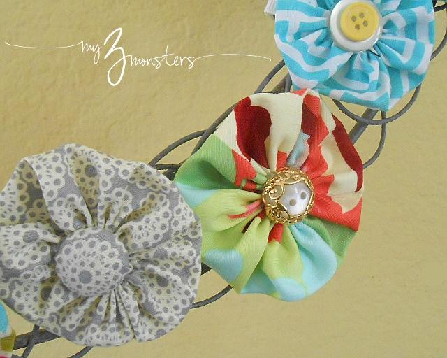 Bright spring fabric yo yo rosettes