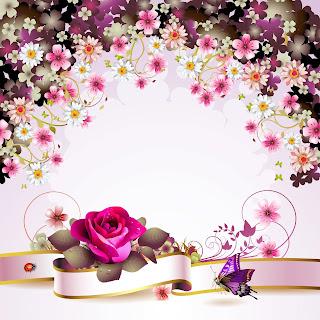 Postal con flores y mariposas para personalizar