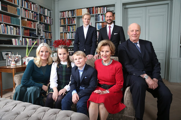 King Harald and Queen Sonja of Norway, Crown Princess Mette-Marit and Crown Prince Haakon of Norway, Princess Ingrid Alexandra, Prince Sverre Magnus, Marius Borg Hoiby attend Christmas photo session at Skaugum the residence