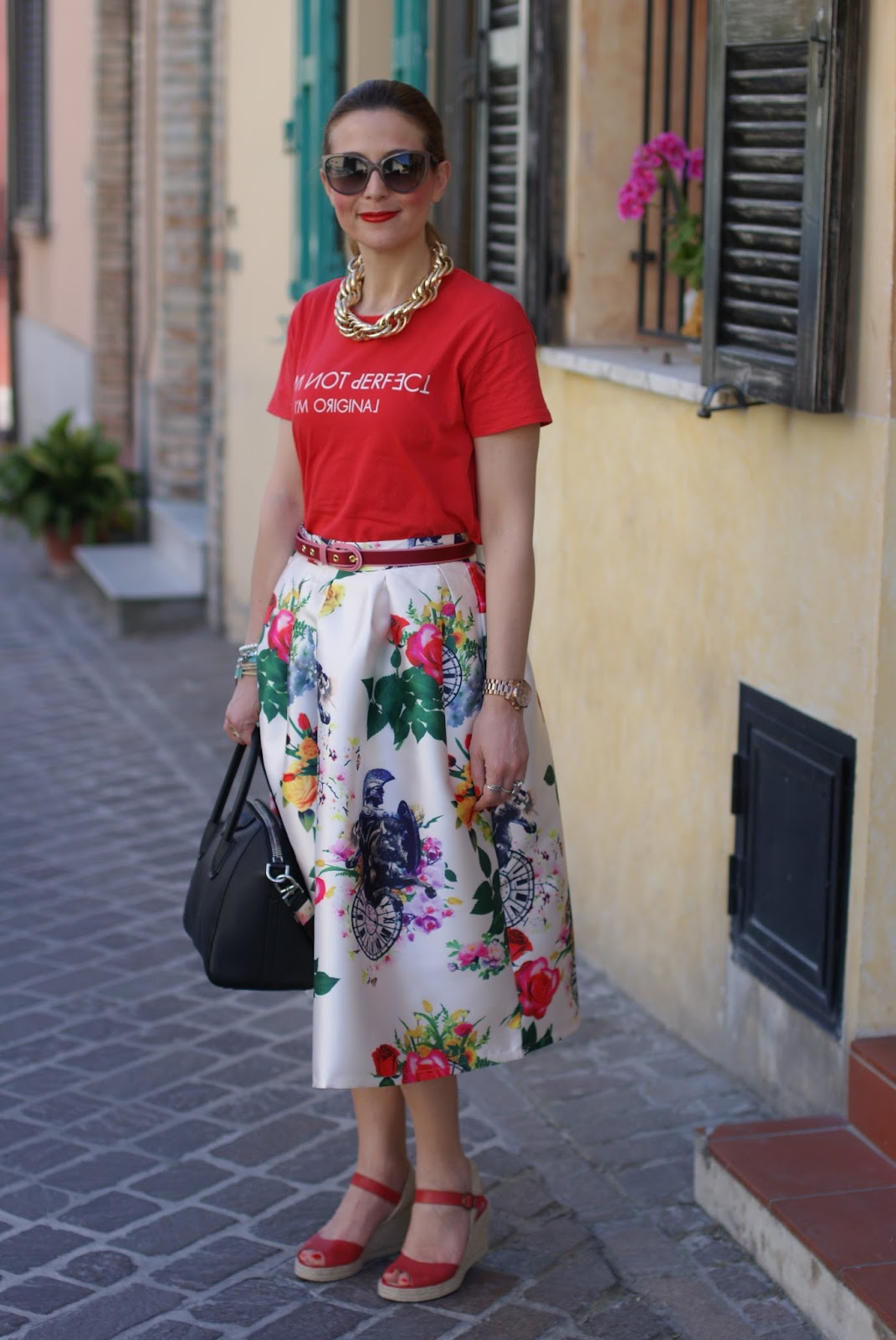 red espadrilles worn with a midi skirt on Fashion and Cookies fashion blog, exploring the espadrilles trend