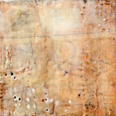 Under My Skin II, Encaustic and oil bar on panel, 16 x 16 inches