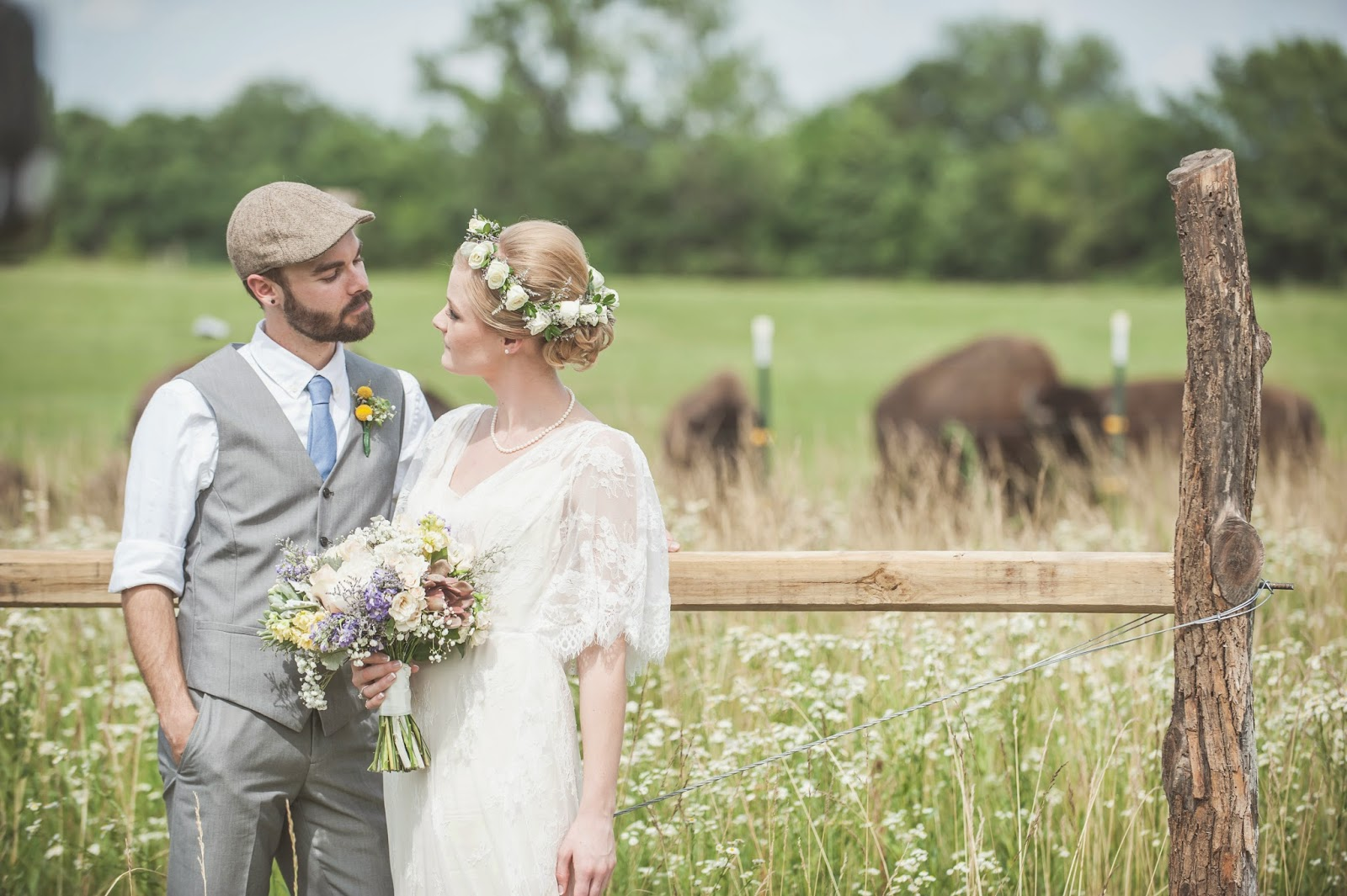 Bride and Groom with Buffalo