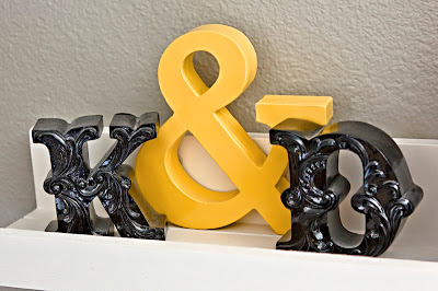 cardstock ampersand, made by layering cardstock cut with Cricut, plus Hobby Lobby letters
