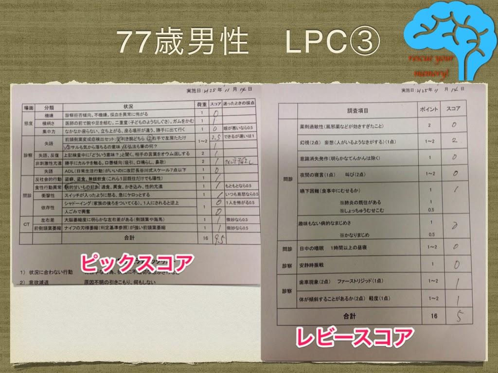 LPC レビー・ピック複合 レビースコアとピックスコア