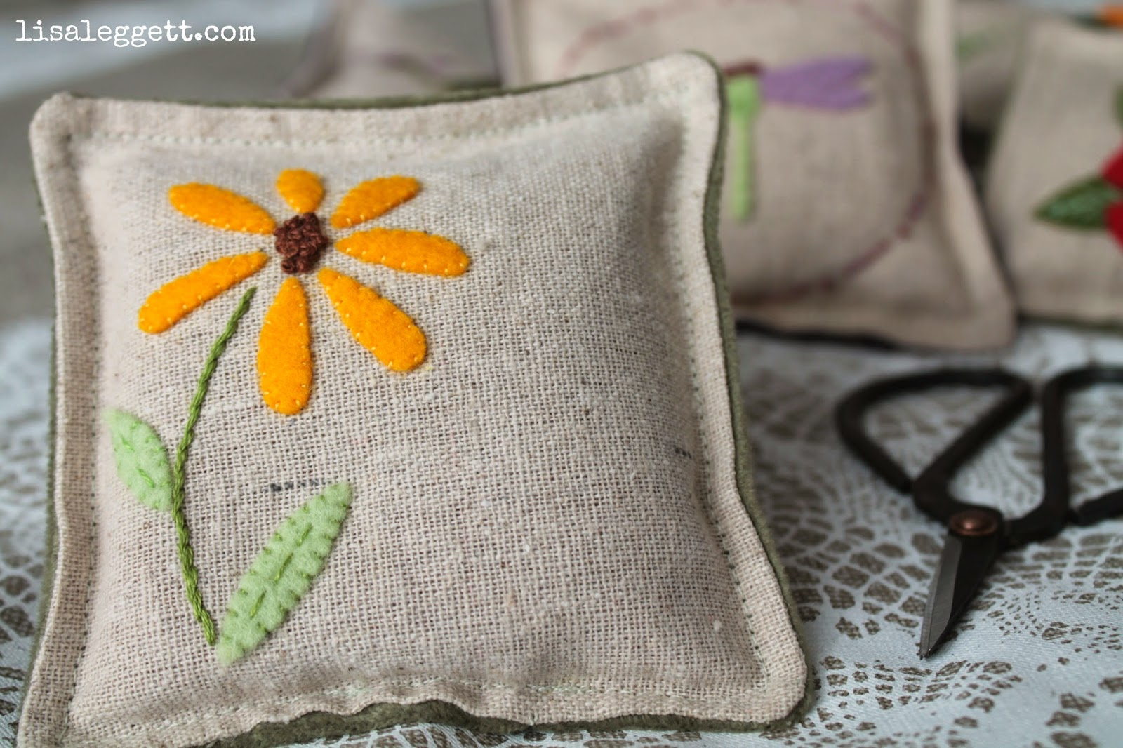 Black Eyed Susan Linen Pincushion