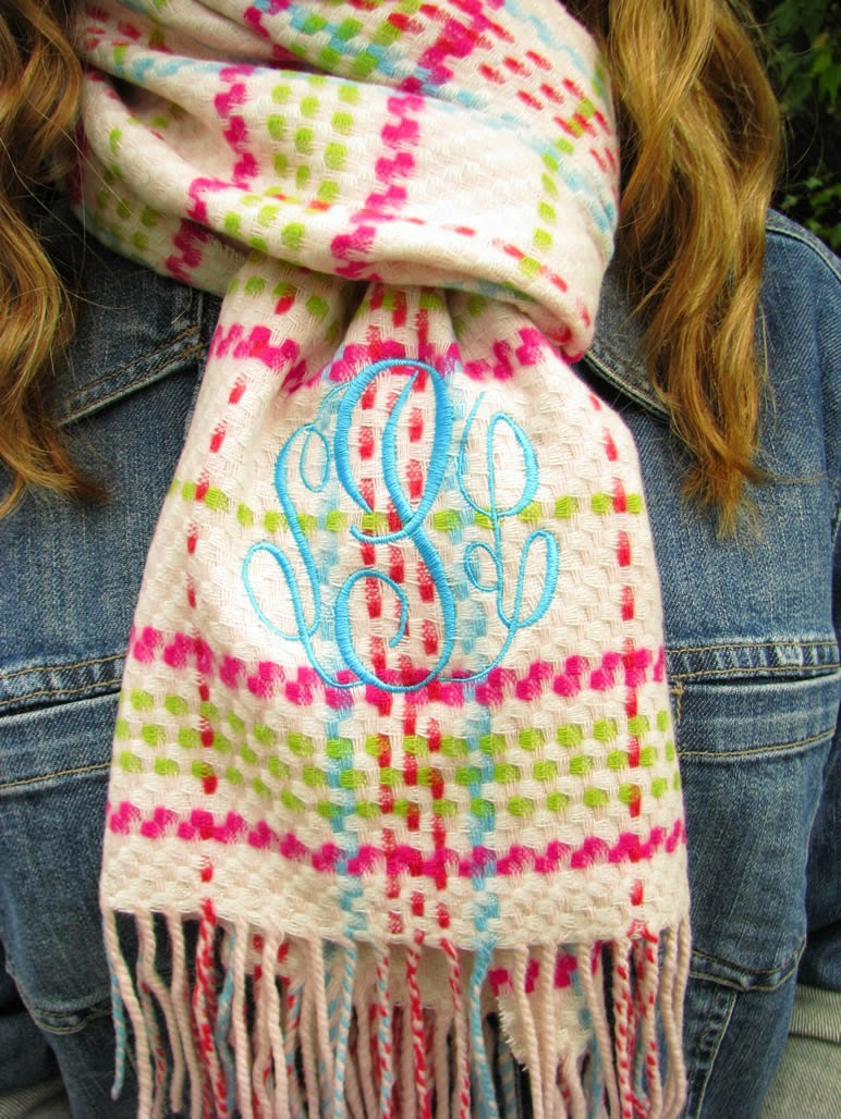 preppy plaid monogram scarf