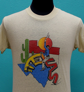 vintage TEXAS 80s soft thin T SHIRT medium COWBOY