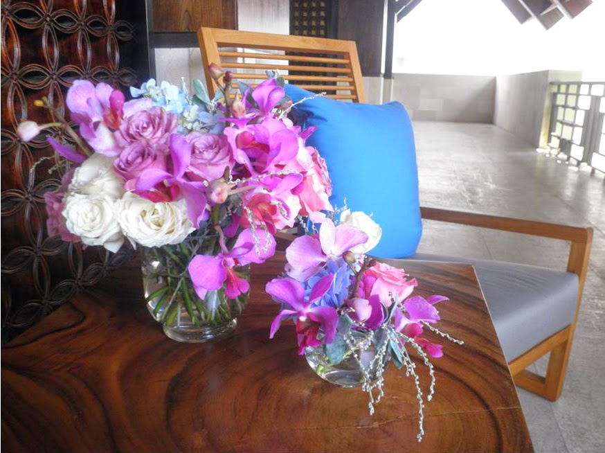 lavender cool water roses, purple vanda orchid, off white avalanche roses, pink roses and blue hydrangeas
